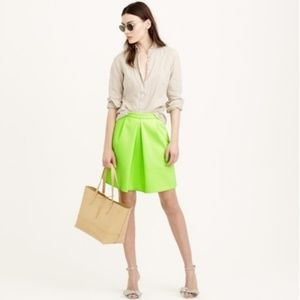 J. Crew Neon Green Pleat Front Mini Skirt, size 4